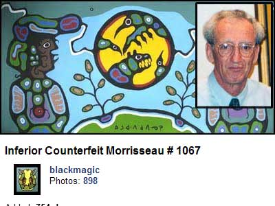 The only painting - of 28 that Robinson purchased at Randy Potter Auctions, which has so far surfaced. Robinson and his fellow Conspiracy Theorists, at the Norval Morrisseau Heritage Society have done their utmost to prevent photos of these - front and back - from being made accessible to the public for independent scientific analysis.