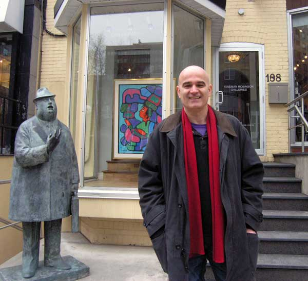 SLAPP suit Target Ugo Matulic, of Calgary, Alberta, outside Toronto's Kinsman Robinson Galleries, is famous in Canadian history as the first person ever taken to court by the Morrisseau Conspiracy Theorists.